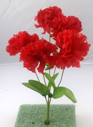 "CARNATION BUSHX5 13"" RED"