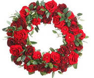 WREATH ROSE VELVET/SKIMMIA 23""