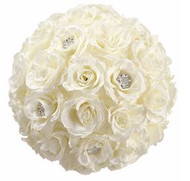 "ROSE KISSING BALL WITH RHINESTONES 11"" CR"