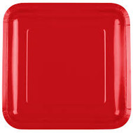 PLATES SQUARE 9 IN. RED CLASSIC 18 CT