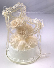 CAKE TOP DOUBLE HEART LACE IVORY