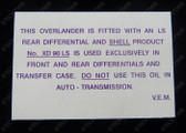 Overlander Diff Warning Decal
