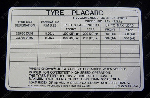 Tyre Placard - VP Clubsport