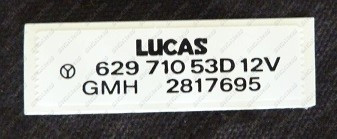 Wiper Motor Decal, Lucas