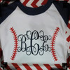 Baseball Raglan Tee with your initials on it!  Choose between navy/white, red/white, and black/white.