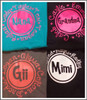 """Adorable tees with """"Grandma"""" Name and Grandkids names!  You choose your colors and customize your names!  Design colors are Gray with coral, turquoise with pink, black with pink, and black with white."""