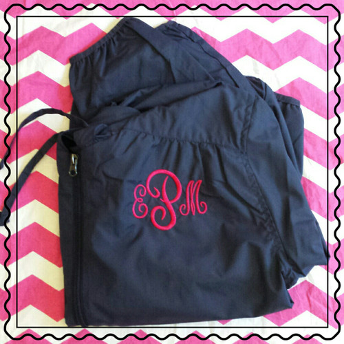 Navy Jacket with a hot pink monogram!  100% Polyester hooded jacket with full zip!