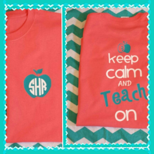 """Coral Tee with aqua and white """"Keep Calm"""" Design.  Love these color combinations!"""