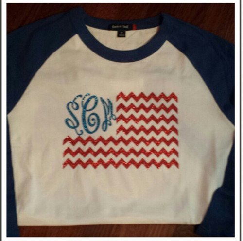 Blue Raglan with royal blue and red design!