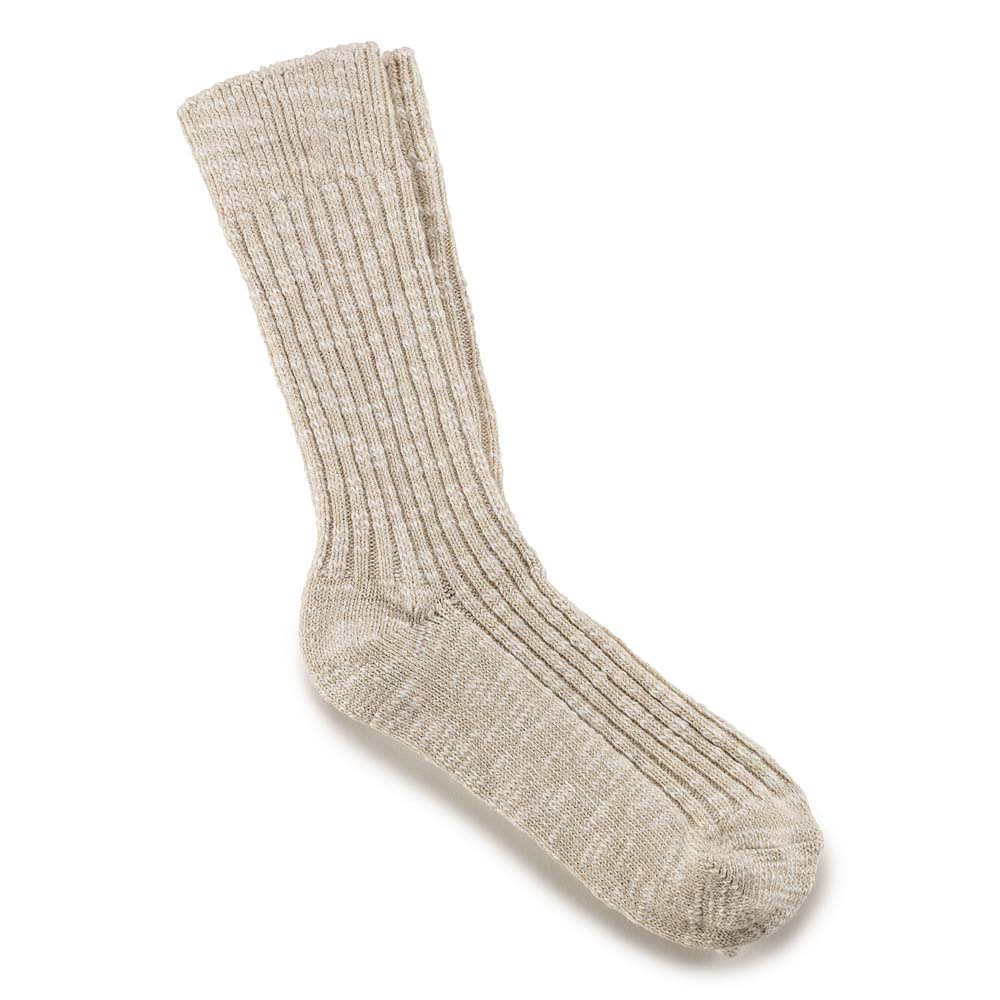Women's Beige/White Cotton Slub Socks