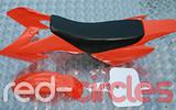 CRF50 STYLE PITBIKE PLASTIC SET - ORANGE (WITH SEAT PAD)