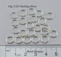 """Sterling Silver Jump Rings 18 Gauge 7/32"""" id."""
