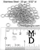 "Stainless Steel Jump Rings 20g 5/32"""