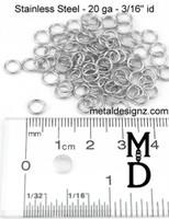 """Stainless Steel Jump Rings 20 Gauge 3/16"""" id."""
