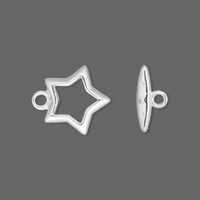 Clasp, toggle, silver-plated , 15mm star