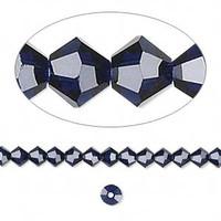 Swarovski crystal, dark indigo, 4mm  bicone
