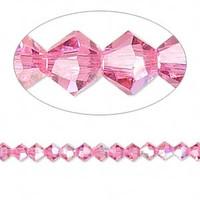 Swarovski crystal, rose AB, 4mm  bicone