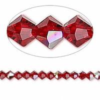 Swarovski crystal, Siam  AB, 4mm  bicone