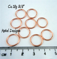 "Copper Jump Rings 18 Gauge 3/8"" id."