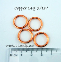 """Copper Jump Rings 14 Gauge 7/16"""" id."""