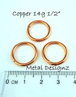 """Copper Jump Rings 14 Gauge 1/2"""" id."""