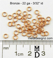 "Bronze Jump Rings 22 Gauge 3/32"" id."