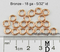 """Bronze Jump Rings 18 Gauge 5/32"""" id."""