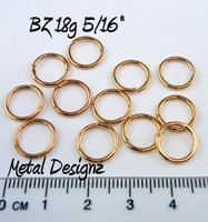 "Bronze Jump Rings 18 Gauge 5/16"" id."