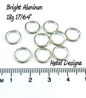 "Bright Aluminum Jump Rings 18 Gauge 17/64"" id."