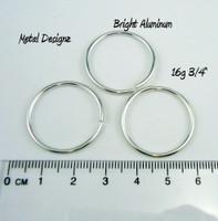 """Bright Aluminum Jump Rings 16 Gauge 3/4"""" id."""
