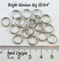"Bright Aluminum Jump Rings 16 Gauge 15/64"" id."