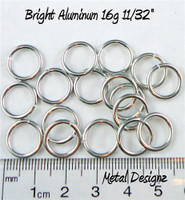 "Bright Aluminum Jump Rings 16 Gauge 11/32"" id."