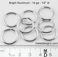 """Bright Aluminum Jump Rings 14 Gauge 1/2"""" id."""