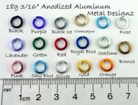 "Square Anodized Aluminum Jump Rings 18 gauge 3/16"""