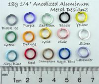 "Square Anodized Aluminum Jump Rings 18 gauge 1/4"""