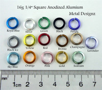 "Square Anodized Aluminum Jump Rings 16 gauge 5/16"""