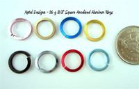 "Square Anodized Aluminum Jump Rings 16 gauge 3/8"""