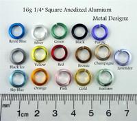 "Square Anodized Aluminum Jump Rings 16 Gauge 1/4"""