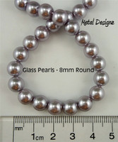 Pearls, Simulated Glass Pearl,8mm Round
