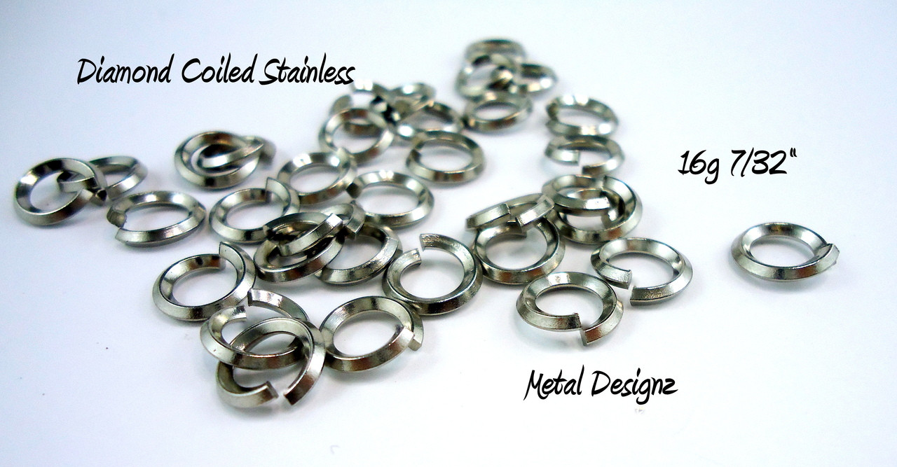 "Diamond Coil - On Edge Stainless Steel Square Wire Jump Rings - 16g 7/32"" - Perfect for Byzantine"