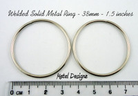 1.5 inch Solid Welded Rings - Silver Toned
