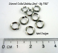 Diamond Coiled Square Stainless Steel Jump Rings 18 Gauge 7/32""