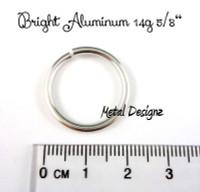 """Bright Aluminum Jump Rings 14 Gauge 5/8"""" id."""