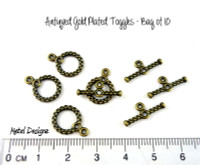Antiqued Gold Toggles - Bag of 10 - Round 10mm spiral with loops
