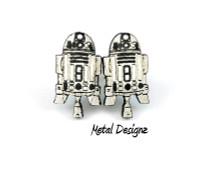 R2D2 Earrings -- Laser Engraved - 20 mm tall