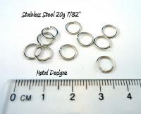 """Stainless Steel Jump Rings 20 Gauge 7/32"""" id."""