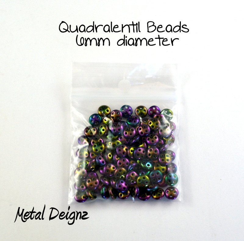 CzechMates Glass 6mm Four-Hole QuadraLentil Bead