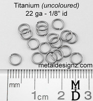 "Titanium Jump Rings 22 Gauge1/8"" id."