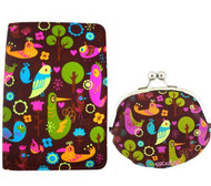 Fluff's Birdsville Passport Wallet and Coin Purse - 2 Piece Gift Set