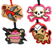 Tattoo Pink Skull Dog Red Bird Cupcake Luggage ID Tag FLUFF Pirate Sailor Pooch